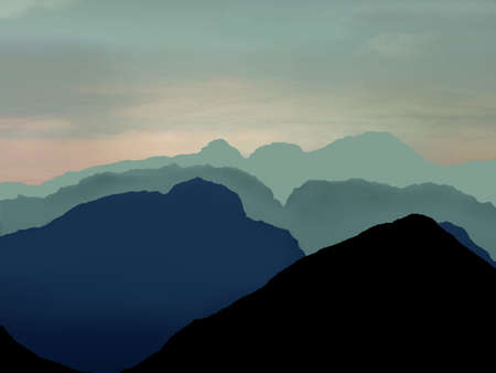 majorca: Illustrated scene of misty mountains, clouds and sky Stock Photo