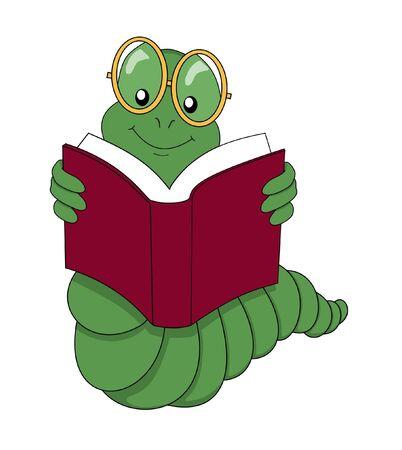 gusanos: Bookworm leer un libro sobre un fondo blanco  Foto de archivo