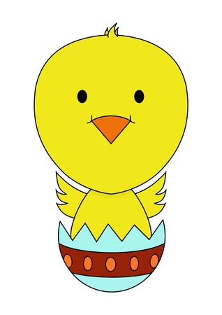 breaking out: Illustration of a chick breaking out of a decorated egg