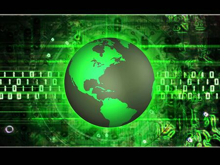 illustrated: Illustrated green earth over a abstract electronic binary background Stock Photo