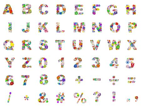 illustrated: Illustration of the alphabet, numbers and symbols made from flowers Stock Photo