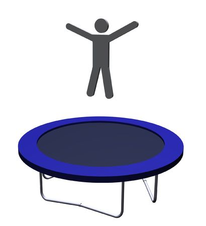 trampoline: Illustration of a man on a trampoline Stock Photo