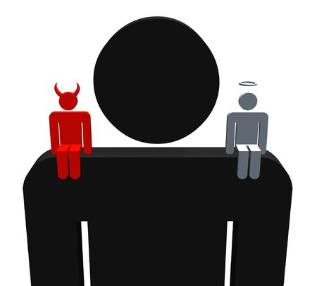 Illustration of a person with a devil and angel sitting on their shoulders Stock Photo