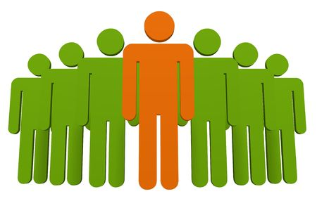 apart: Illustration of a group of people colored green apart from the one at front who is orange