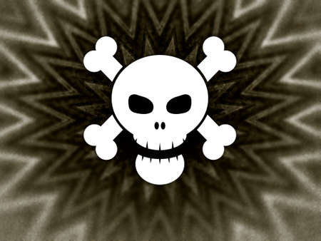 Illustration of a white skull and crossbones over an abstract background Stock Illustration - 2615307