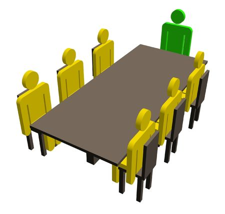 seated: Illustration of characters in a meeting seated around a table