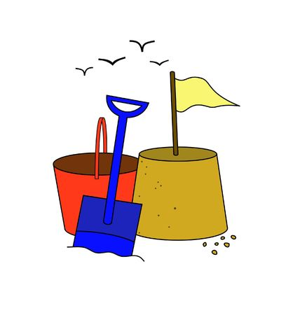 Illustration of a sandcastle bucket spade and seagulls illustration