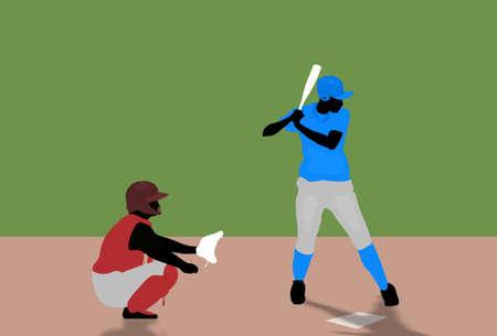 Illustration of two people playing baseball illustration