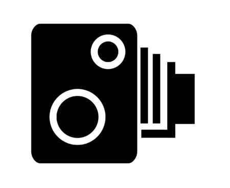 cam: Illustrated black and white speed camera symbol Stock Photo