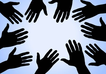 diverse business team: Illustration of many hands on a blue surface Stock Photo