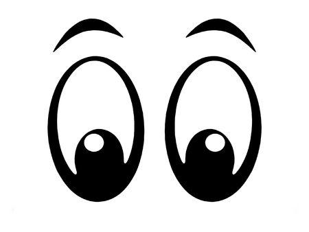 Illustration of black and white cartoon eyes