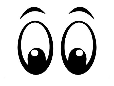 brow: Illustration of black and white cartoon eyes