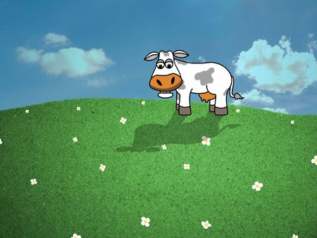 daises: Cow in field of Daises