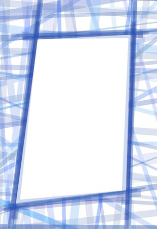 Slanted rough blue frame made of lines