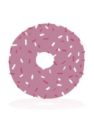 dough nut: Illustration of a dough nut with a slight reflection below
