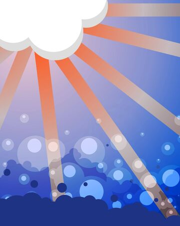 evaporation: Illustrated abstract background containing a cloud with the sun behind and a bubbling sea