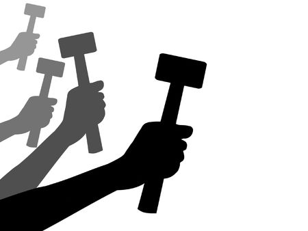 bash: Illustration of four hands holding hammers
