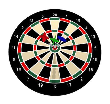 dartboard: Illustrated dartboard with 3 darts in the bulls eye Stock Photo