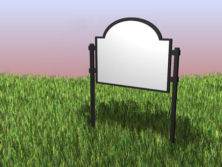 proclamation: 3D render of a sign situated in a field of grass
