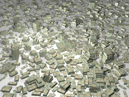 millions: 3D illustration of lots of money