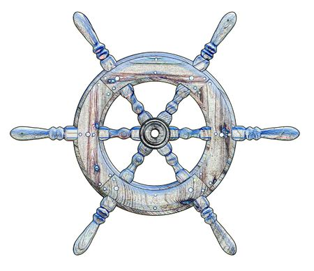Illustration of a ships wheel over a white background
