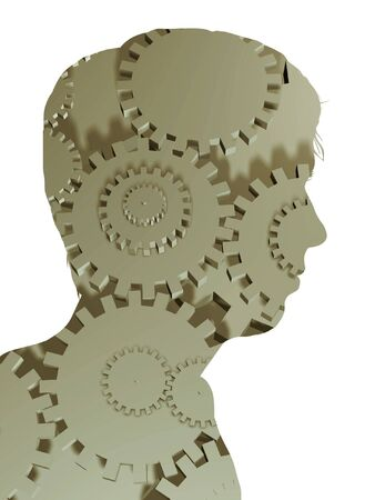 man made: Illustrated silhouette of a man made of cogs