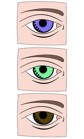 Illustration of 3 eye icons illustration