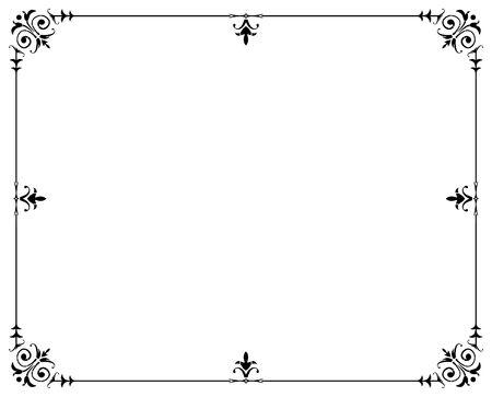 marco blanco y negro: Ilustrado borde negro marco  Foto de archivo
