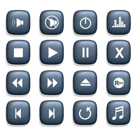 media player: 16 Media player icons over a white background