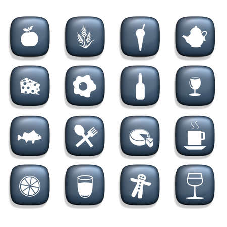 16 icons containing various food and drink symbols over a white background Stock Photo - 2729905