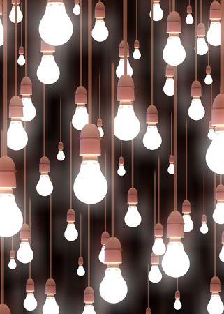 Illustration of lots of hanging light bulbs