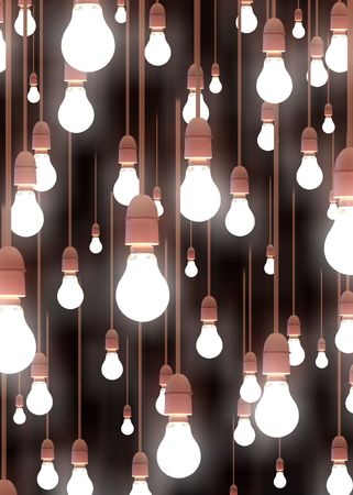 multiple image: Illustration of lots of hanging light bulbs