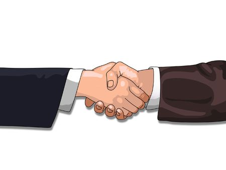 hand grip: Shaking Hands over a white background