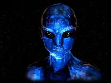 Illustration of a blue alien life form