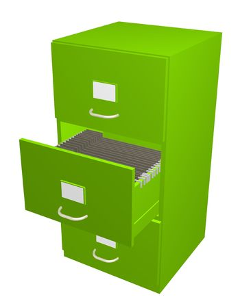 file cabinet: 3D illustration of a green Filing Cabinet with the middle draw open