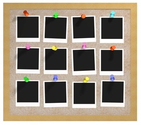 illustration of a cork noticeboard with photos attached Stock Illustration - 2752163
