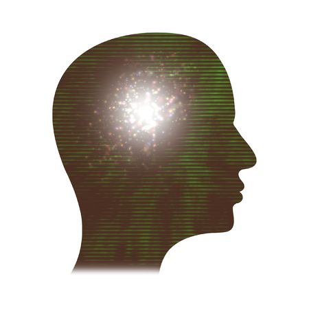 Illustration of the side of a persons head with sparkles and light Stock Illustration - 2757697