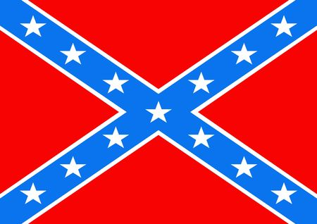 2D illustration of a american Confederate Flag illustration