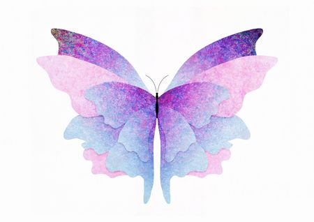 metamorphosis: Illustration of a textured butterfly on a white background Stock Photo