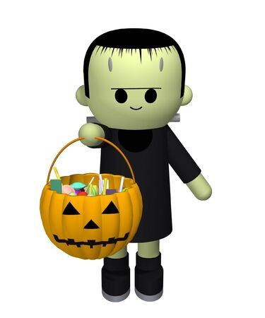 3D illustration of a boy dressed up as Frankensteins monster collecting candy