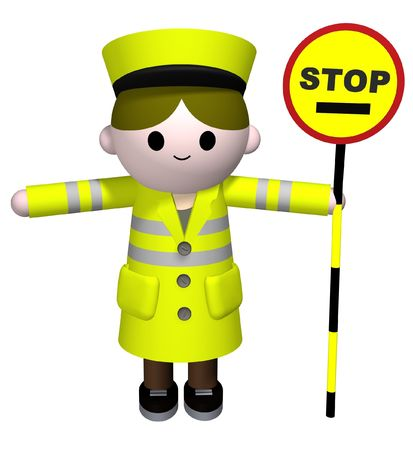 3D illustration of a lollipop Lady holding a stop sign Stock Photo