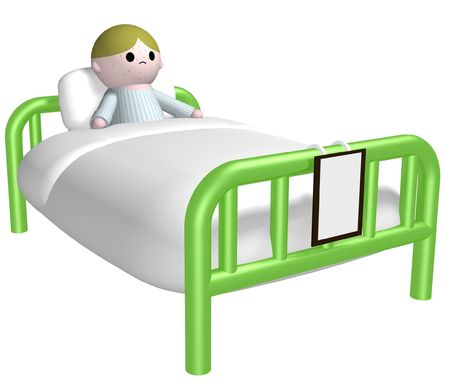 hospital cartoon: 3D illustration of a child with spots in a hospital bed