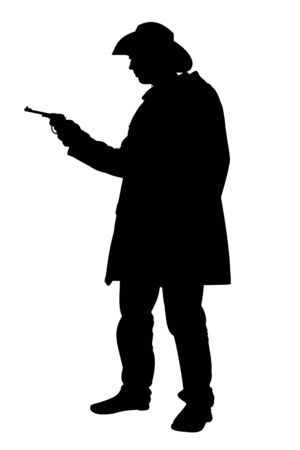 outlaw: Illustrated Silhouette of a cowboy holding a handgun