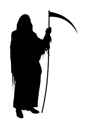grim: Illustrated silhouette of the Grim Reaper on a white background