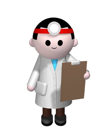 psychologist: 3D illustration of a Doctor holding a clipboard