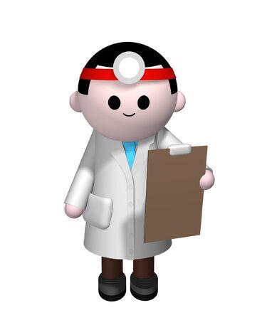 medico caricatura: 3D ilustraci�n de un m�dico con un sujetapapeles
