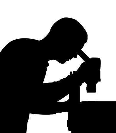 scientists: Illustrated Silhouette of a scientist looking into a microscope