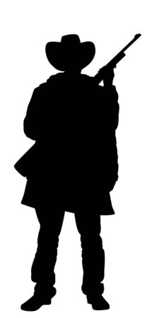outlaw: Illustrated Silhouette of a cowboy holding a rifle