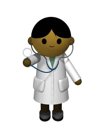 3D illustration of an Asian Doctor holding a stethoscope Stock Illustration - 2837507
