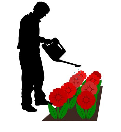 Illustrated silhouette man watering flowers Stock Photo - 2885750